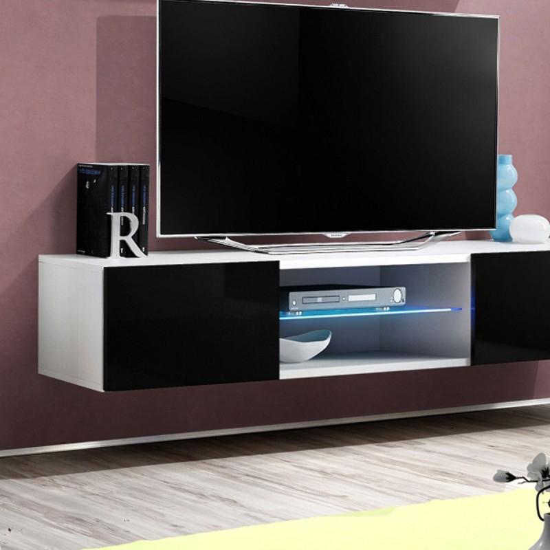 """Meuble Tv Mural Design """"Fly Iii"""" 160Cm Noir & Blanc destiné Meuble Tele Fly"""