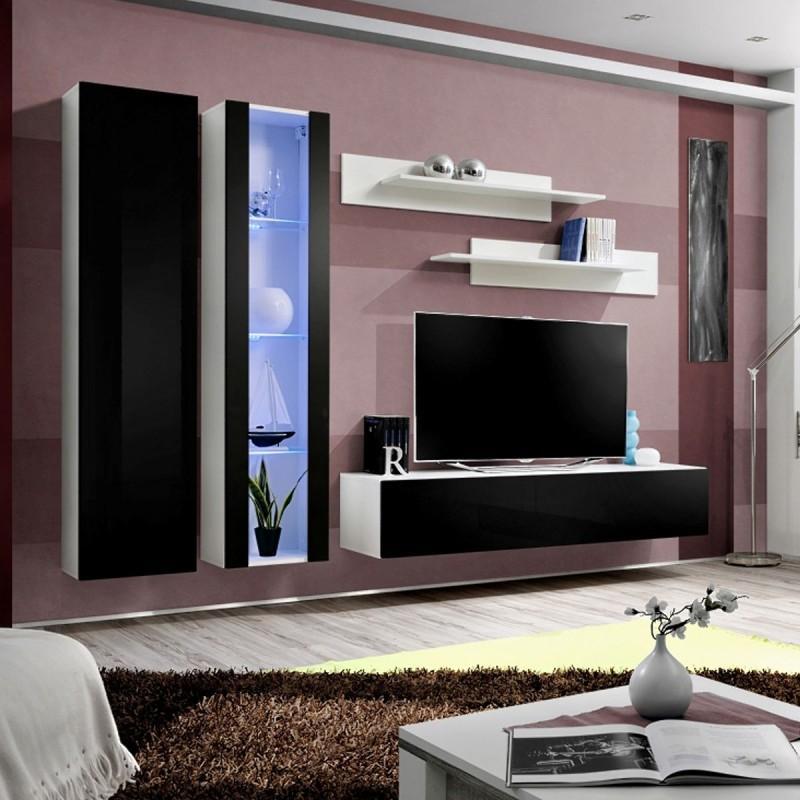 Meuble Tv Mural Design Fly Iv 260Cm Noir & Blanc - Paris Prix à Meuble Tele Fly