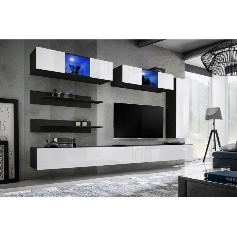 Meuble Tv Mural Design Fly Xvii 320Cm Blanc & Noir - Paris avec Meuble Tele Fly