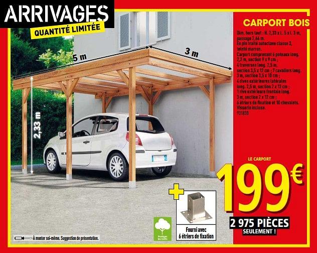 Promotion Brico Depot: Carport Bois - Produit Maison encequiconcerne Abri Camping Car Brico Dépôt