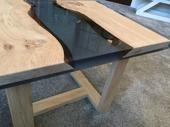 River In Your Room Oak Wood And Epoxy Table | Table Bois tout Table Bois Resine