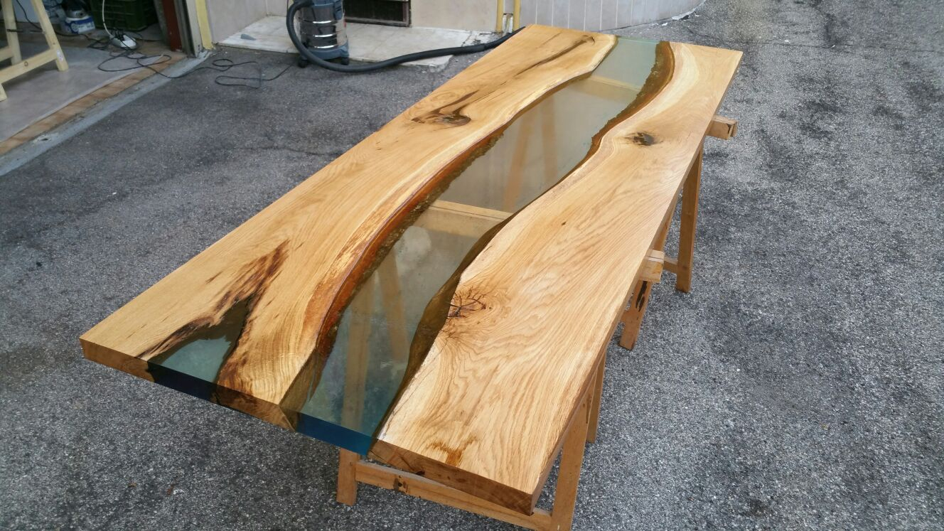 River Table Durnmast/Rovere Natural Ca.206X75X4Cm Resin tout Table Bois Resine