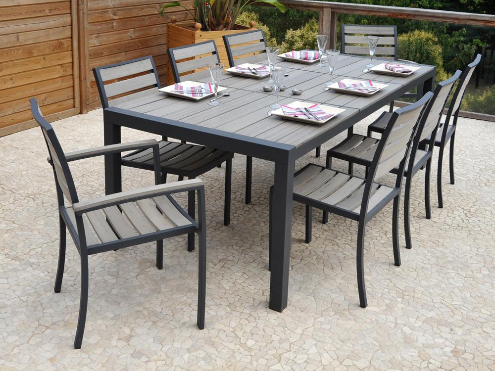 "Salon De Jardin En Aluminium ""Newport"" - Table + 6 Chaises dedans Table De Jardin"