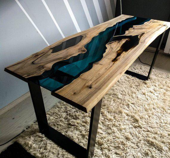 Sold Live Edge Walnut River Table With Black Epoxy Resin intérieur Table Bois Resine