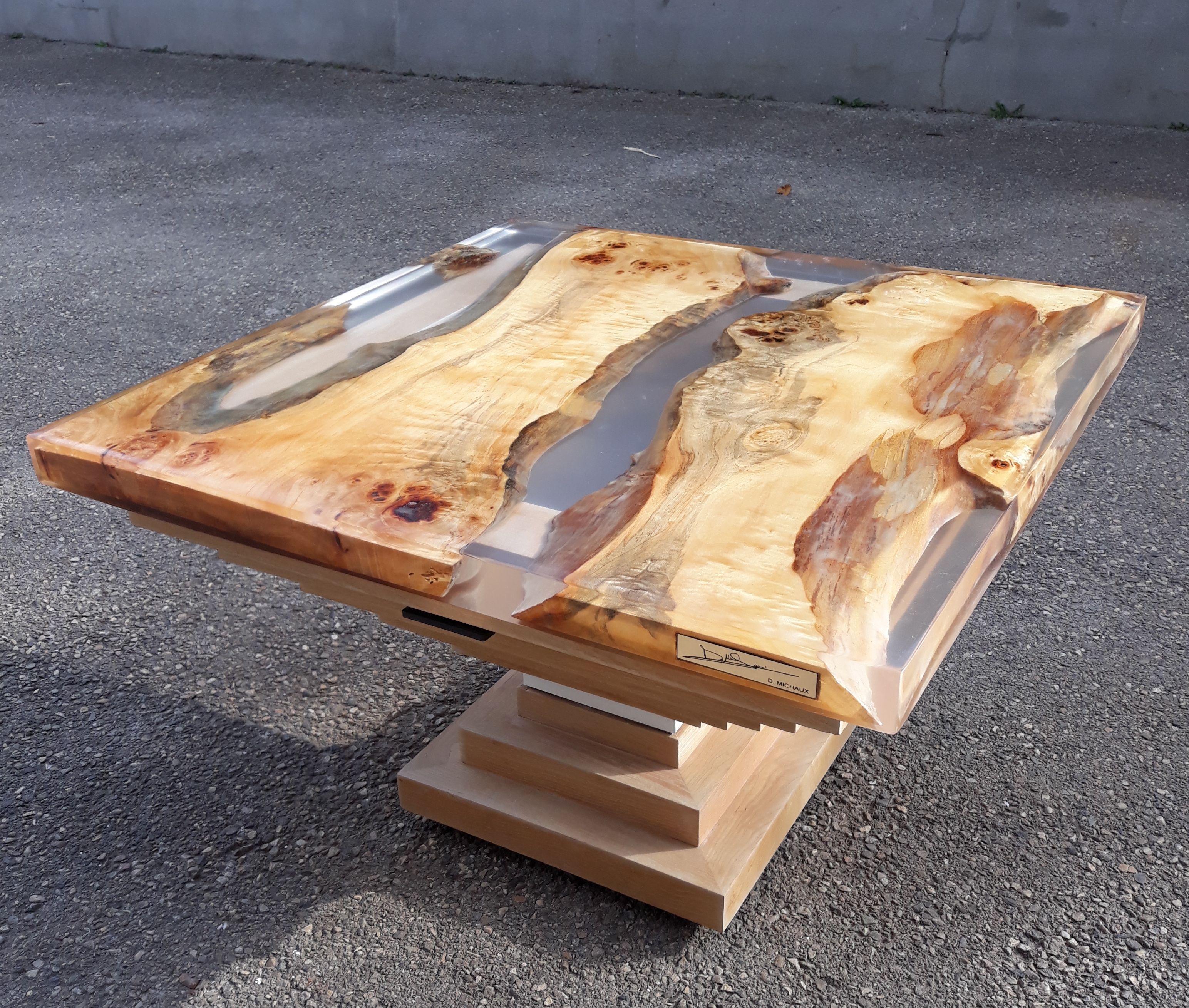 Table Basse En Résine Et Bois   Table Basse, Idée De destiné Table Bois Resine