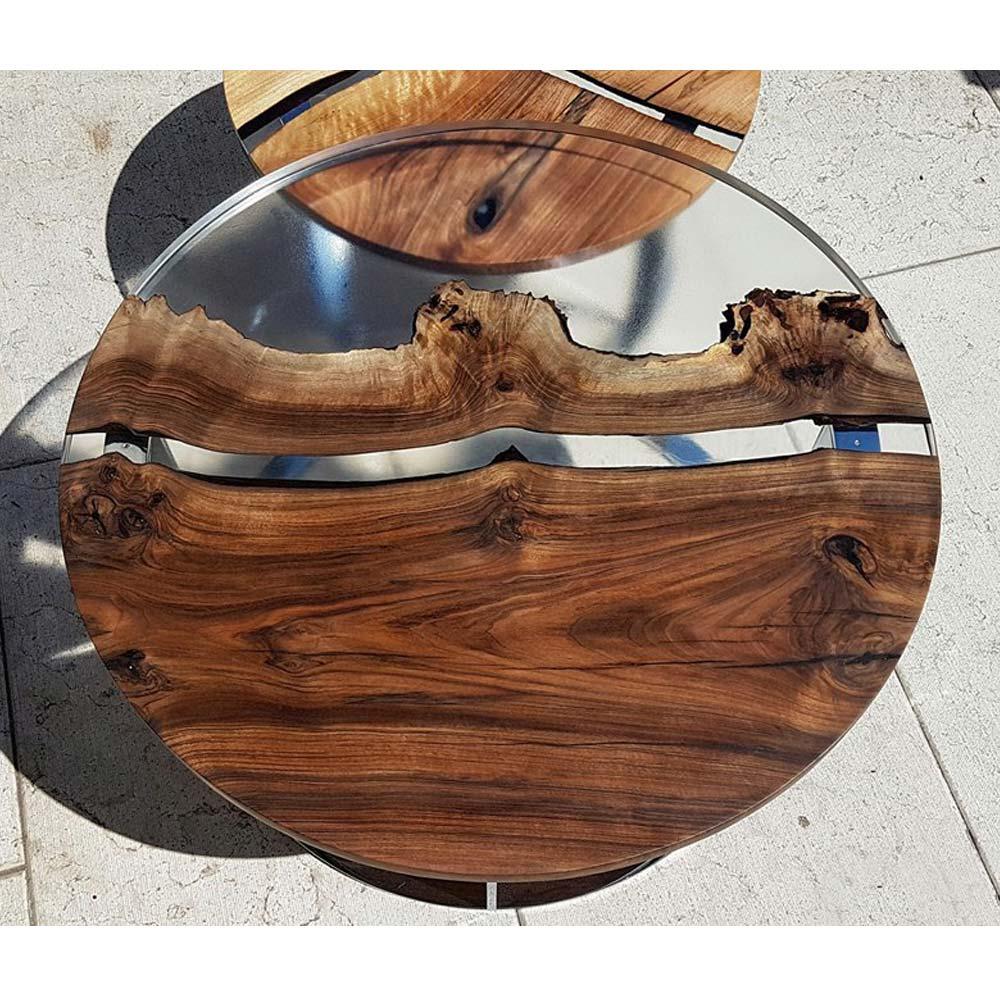 Table Basse Ronde De Salon Design Bois Et Résine Produit destiné Table Bois Resine