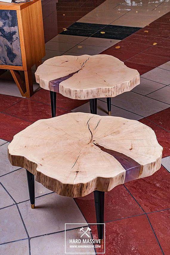 Table Basse Rondin Souche De Table Table Basse Résine destiné Table Bois Resine