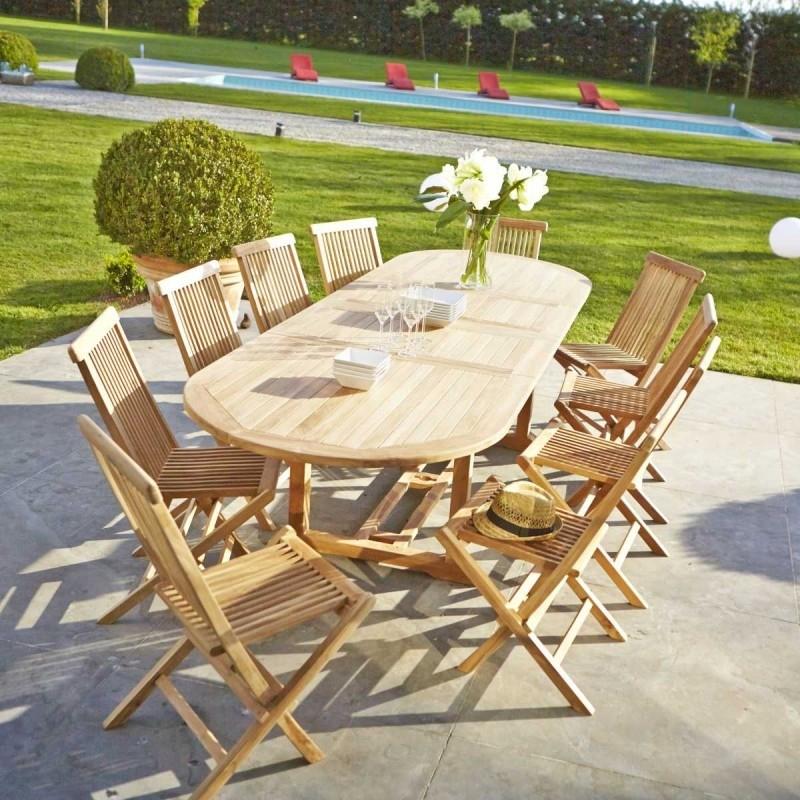 Table De Jardin En Bois De Teck Midland 10/12 Places concernant Table De Jardin