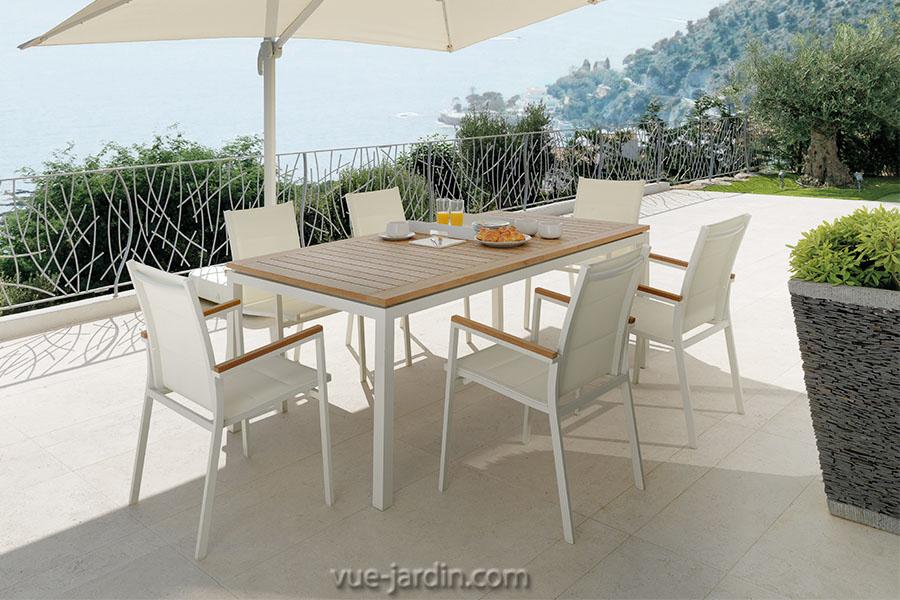 Table De Jardin Extensible En Aluminium Et Plateau Teck tout Table De Jardin