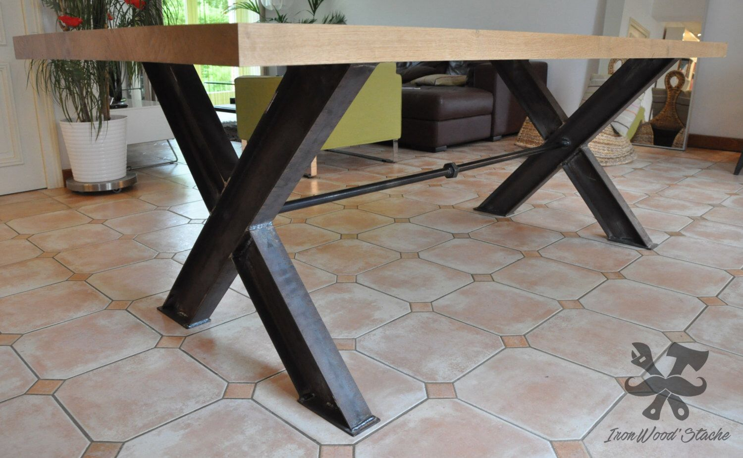 Table, Dining Room, Industrial, Industrial, Oak, Steel Npi serapportantà Pied De Meuble Bois
