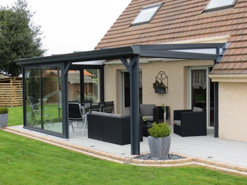 Veranda / Pergola En Aluminium Gris Et Stores | Pergola serapportantà Abri Aluminium Sur Mesure