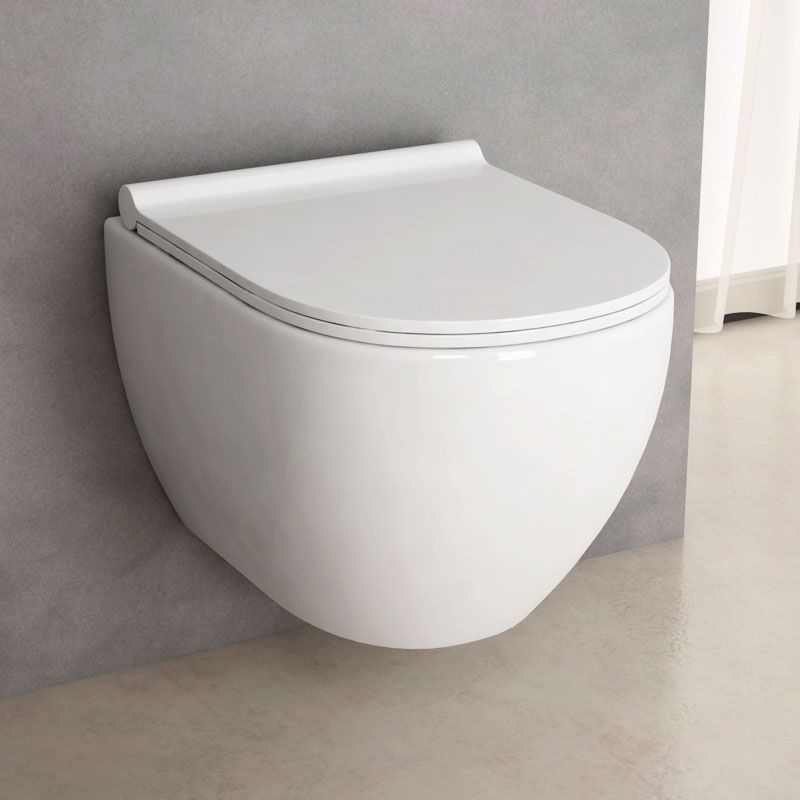 Wc Suspendu Rimless, Nino Compact Blanc 49 Cm + Abattant Slim concernant Wc Suspendu