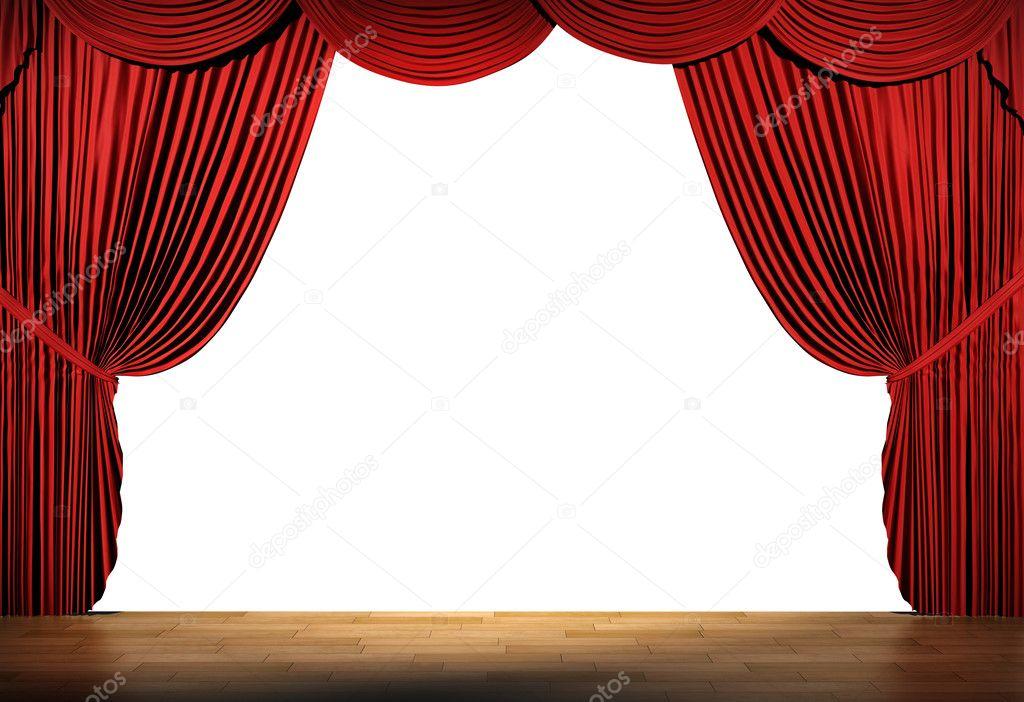3D Stage Render, Red Curtain — Stock Photo concernant Rideau De Scène Noir
