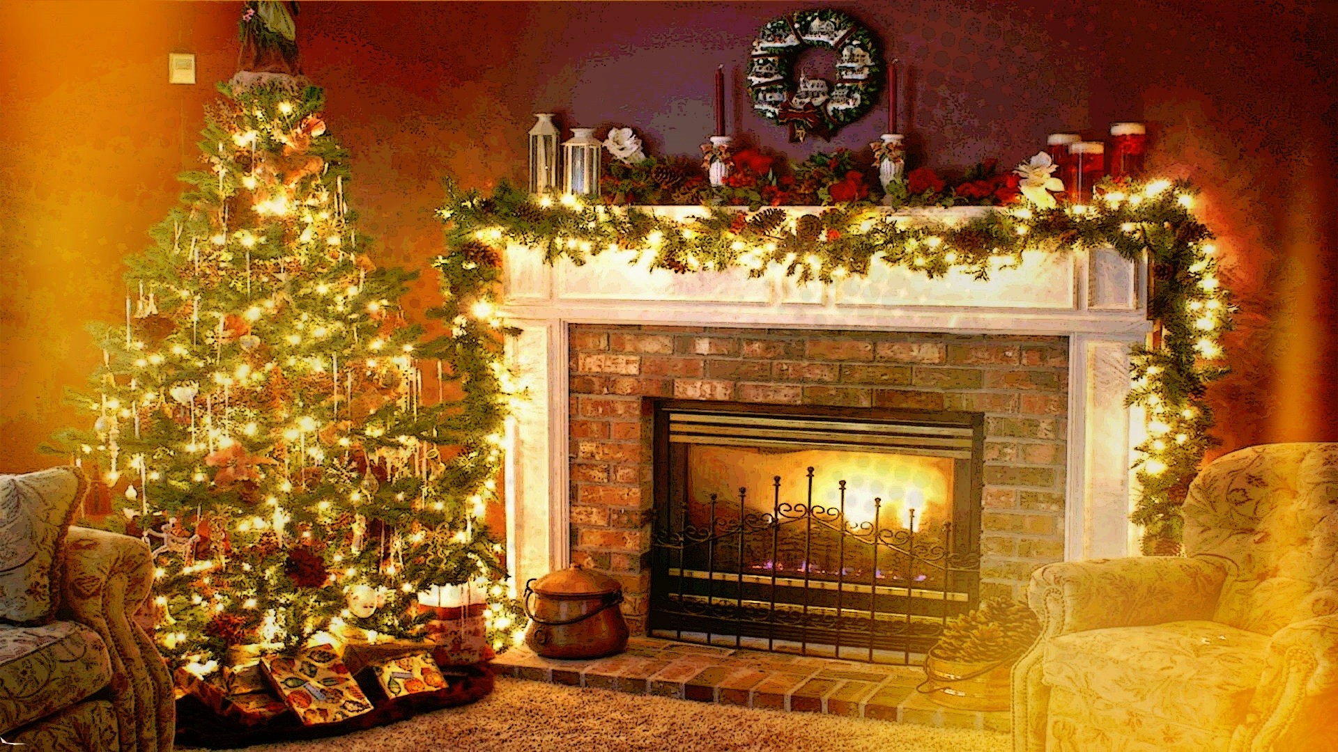 4K Fireplaces Wallpapers High Quality | Download Free à Cheminée De Noel