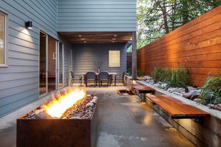 Amenagement-Jardin-Moderne-Terrasse-Design-Avec-Cheminee pour Cheminée De Terrasse