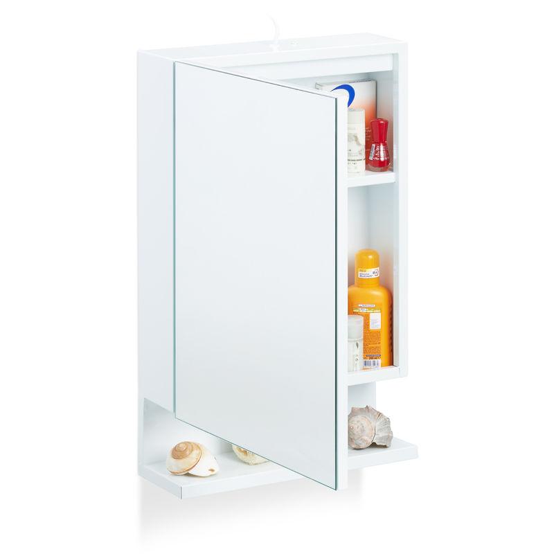Armoire De Toilette 1 Porte Miroir 3Tablettes Prise intérieur Placard Toilette