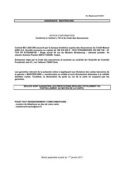 Assurance Mastercard Notice D'Information  - Cic destiné 63 Chemin Antoine Pardon 69814 Tassin Cedex