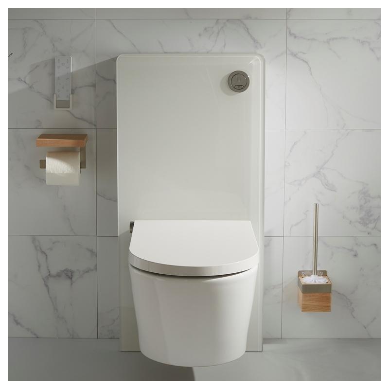 Bati Support Mural En Verre Blanc Et Cuvette Lavante Séchante dedans Toilette Lavante