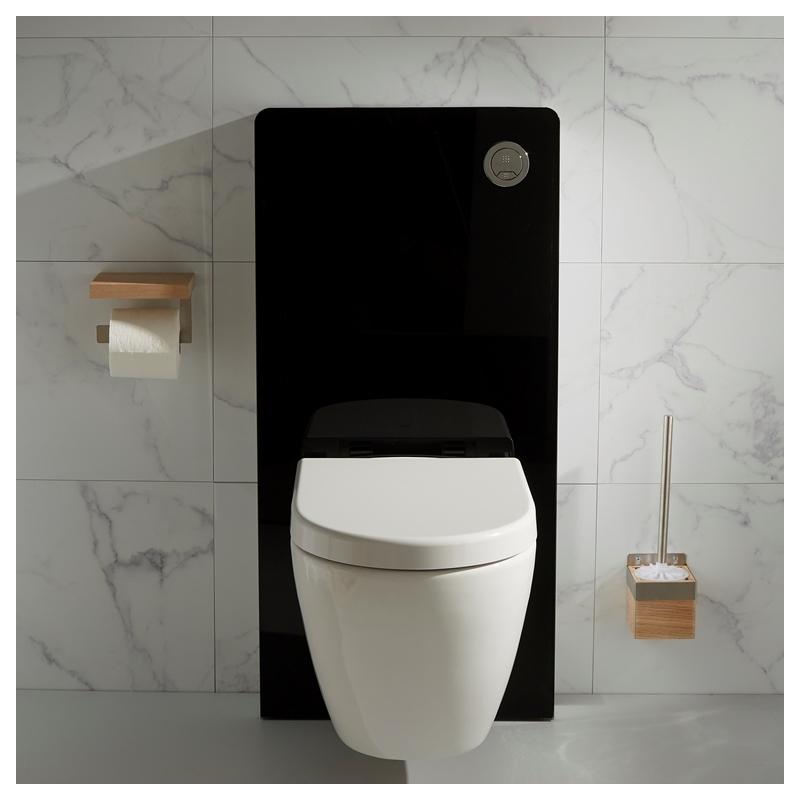Bati Support Mural En Verre Noire Et Cuvette Sans Bride concernant Toilette Noir Suspendu