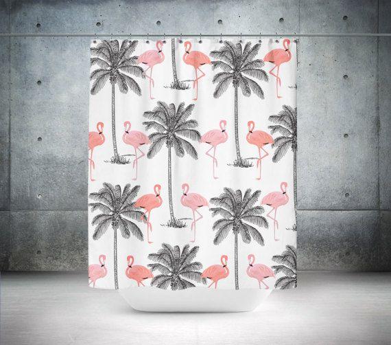 Blanc Gris Rose Rose Tropicale Palmiers D'inspiration concernant Rideau Flamant Rose