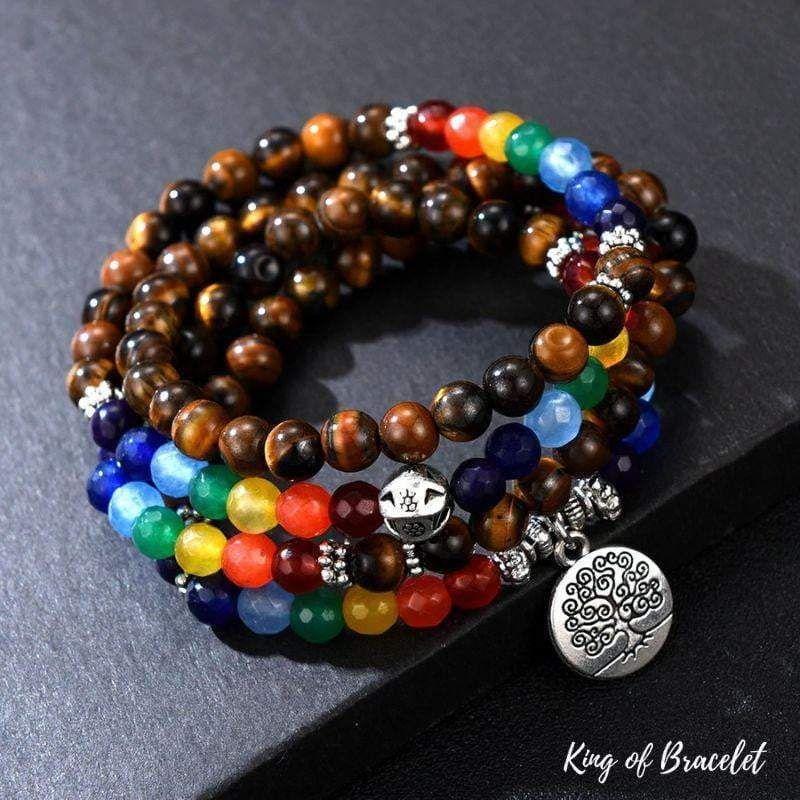Bracelet 7 Chakras De Guérison En Oeil De Tigre (Avec intérieur Bracelet Chemin De Vie Avis