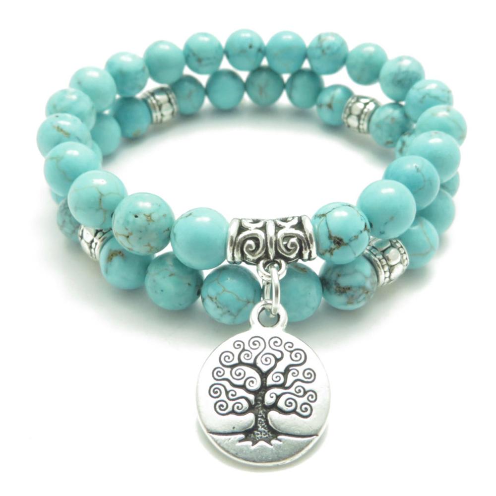 Bracelet Arbre De Vie En Pierres Turquoises - Produits destiné Bracelet Chemin De Vie Avis