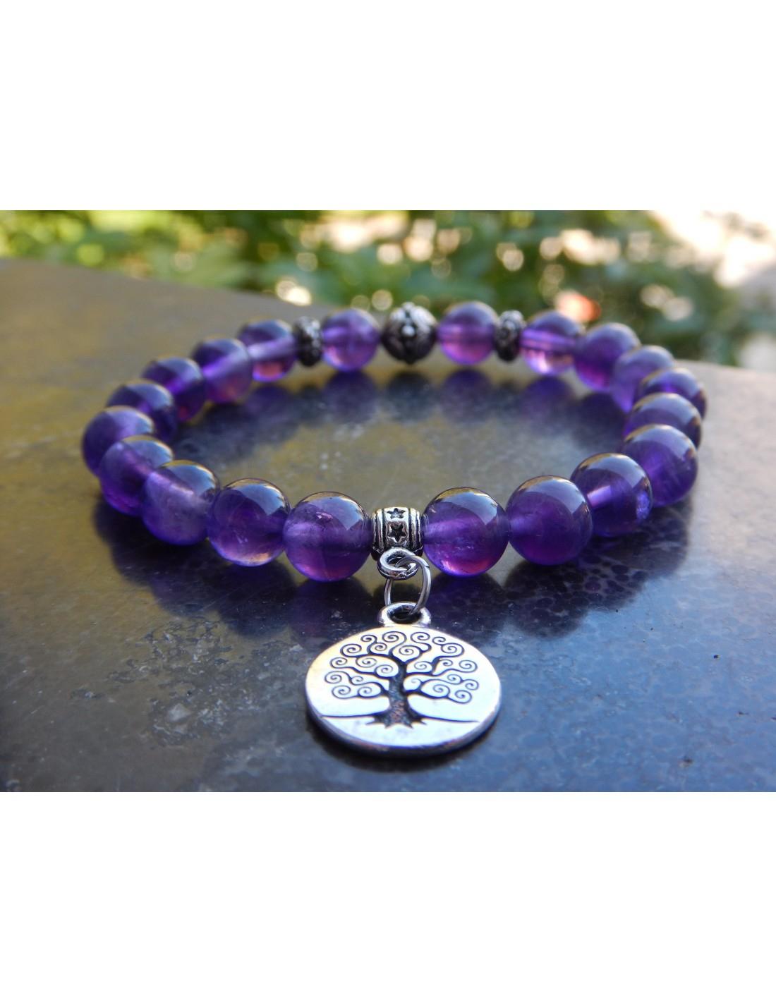 Bracelet En Améthyste - Bracelet En Pierres Naturelles D tout Bracelet Chemin De Vie Avis