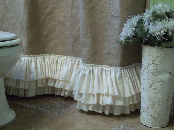Burlap Shower Curtain Shabby Chic Burlap & By serapportantà Rideaux Shabby Chic