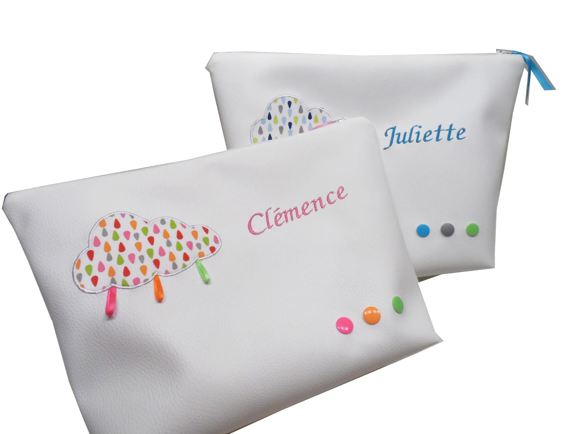 Cadeau Naissance Jumeau/Jumelle : Lot De 2 Maxi Trousses encequiconcerne Trousse De Toilette Bebe Personnalise