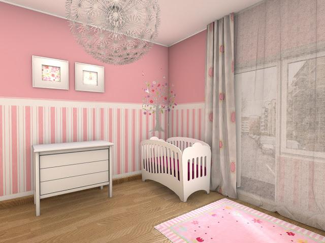 Chambre Bébé Fille En Gris Et Rose - 27 Belles Idées À serapportantà Rideau Gris Et Rose