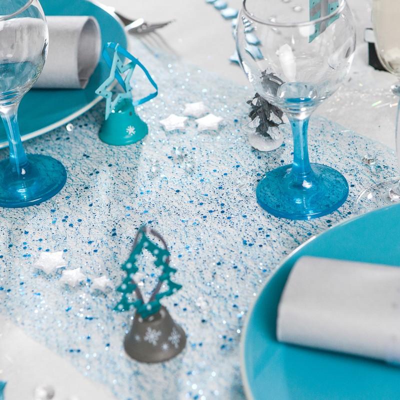 Chemin De Table Ambiance Bleue – Table De Lit destiné Chemin De Table Bleu Canard