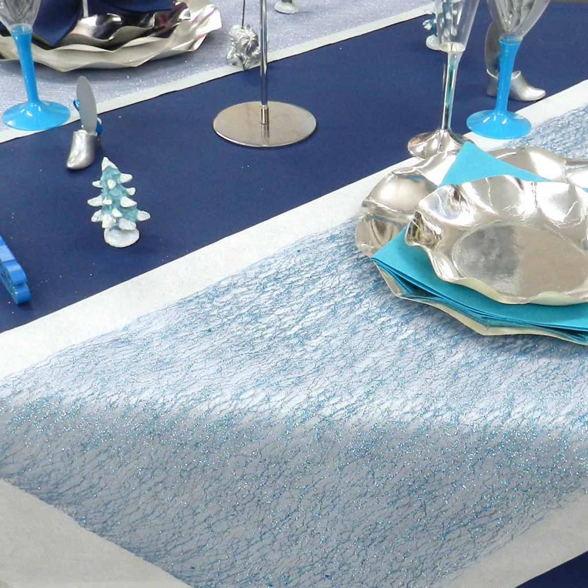 Chemin De Table Brillant/Glitter Bleu, Achat/Vente Déco destiné Chemin De Table Bleu Clair