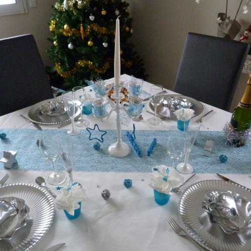 Chemin De Table Brillant/Glitter Bleu, Achat/Vente Déco pour Chemin De Table Bleu Clair