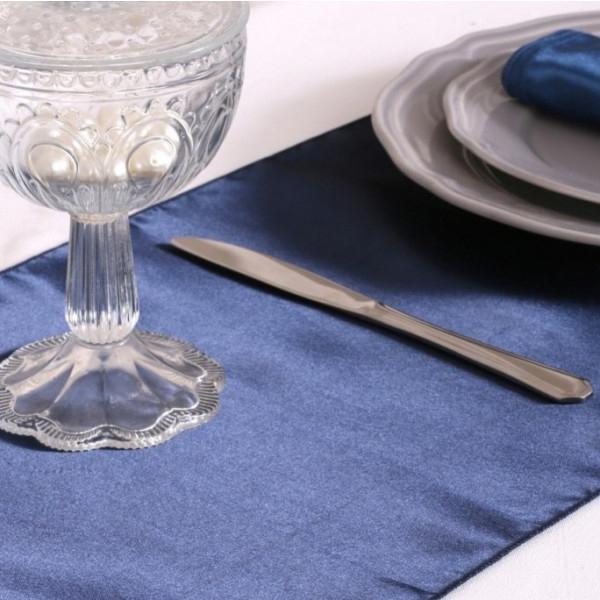 Chemin De Table En Satin Bleu Marine 36Cm, Decoration avec Chemin De Table Bleu Canard