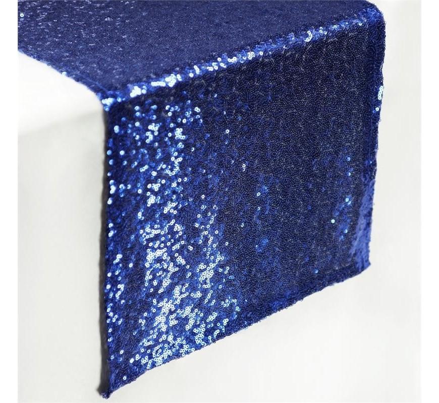 Chemin De Table Mariage Sequin Bleu Marine - Les Couleurs à Chemin De Table Bleu Canard