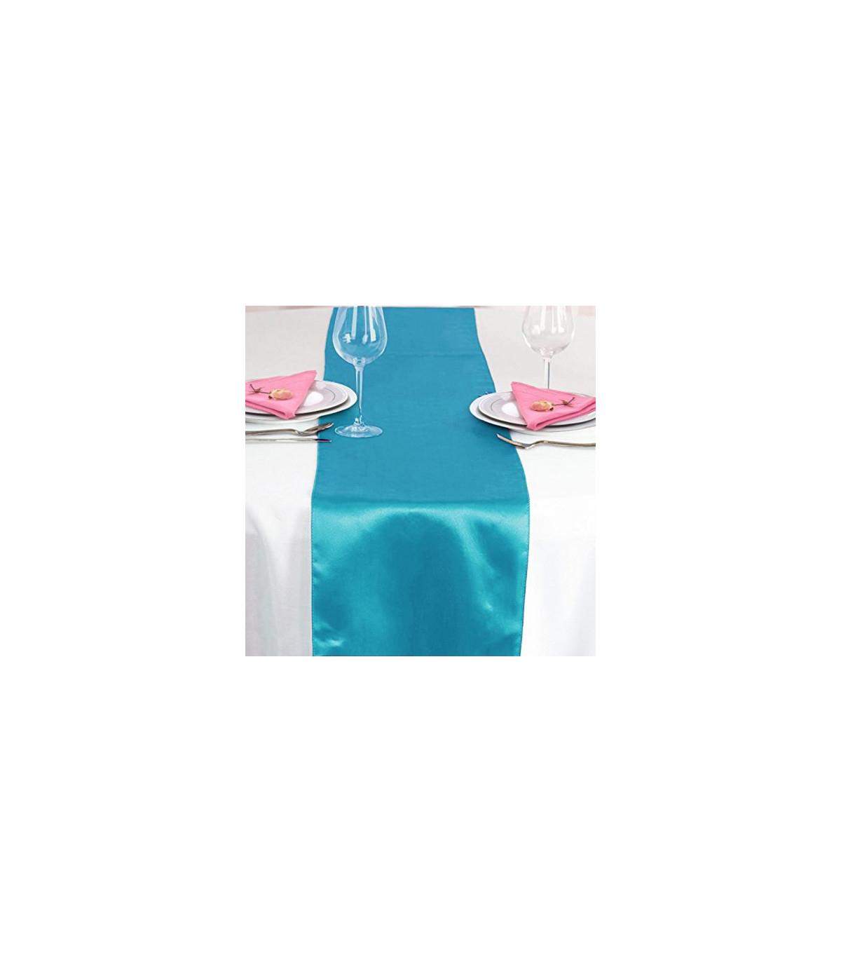 Chemin De Table Satin Bleu Turquoise 2M75 Couleur Bleu serapportantà Chemin De Table Bleu Clair