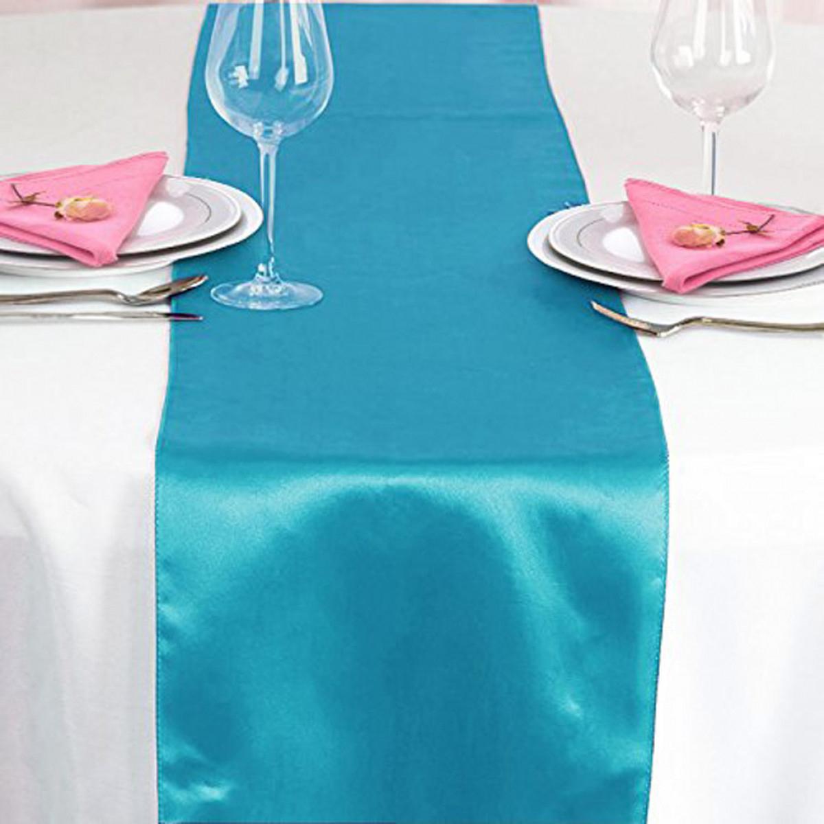 Chemin De Table Satin Turquoise, Décoration De Table concernant Chemin De Table Bleu Clair