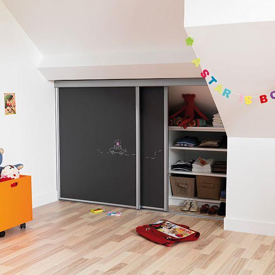 Choisir Une Porte Coulissante De Placard Sous Pente intérieur Rideau Placard Sous Pente