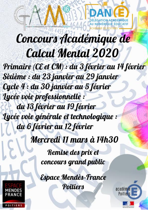 Concours Académique De Calcul Mental - Collège Jean encequiconcerne Calcul Du Chemin De Vie Gratuit