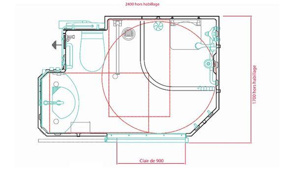 Dimensions Et Plan De La Salle D'Eau Préfabriquée pour Toilettes Handicapés Dimensions