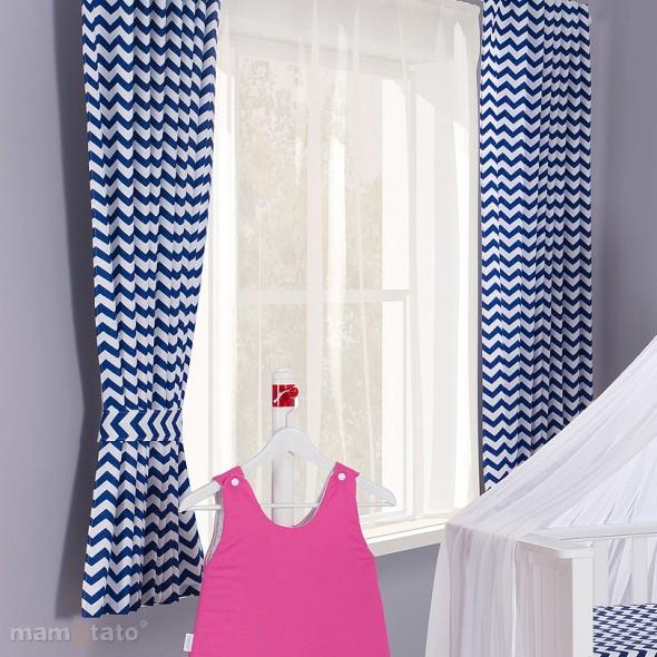 ᐅ rideau bebe garcon motif zigzag bleu