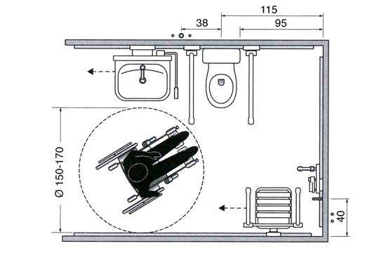 Exemple D'Aménagement : Salle De Douche Avec Wc Et Lavabo 2/4 avec Toilettes Handicapés Dimensions