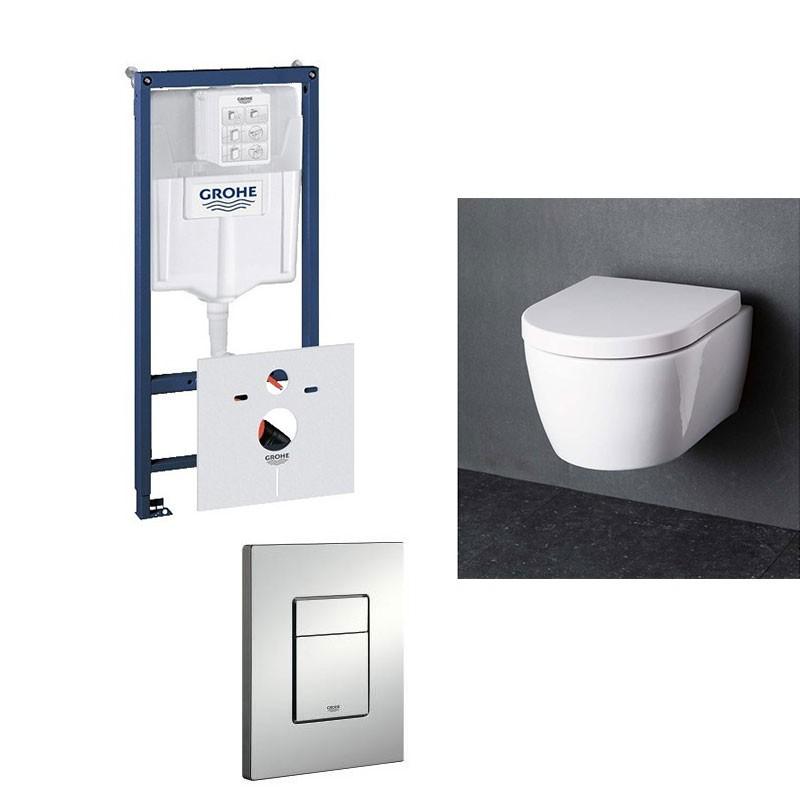 Grohe Pack Wc Suspendu Blanc Toilette Avec Abattant Soft concernant Toilette Suspendu Grohe