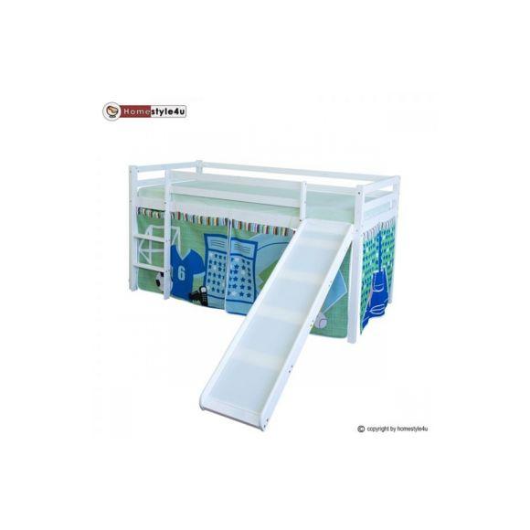 Homestyle4U - Lit Simple Blanc 90X200 En Hauteur Avec serapportantà Rideau Hauteur 200