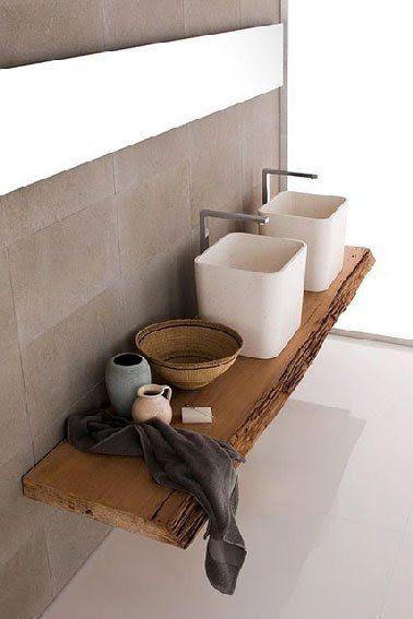 Idée Décoration Salle De Bain - Plan De Toilette Aménagé serapportantà Plan De Toilette Bois