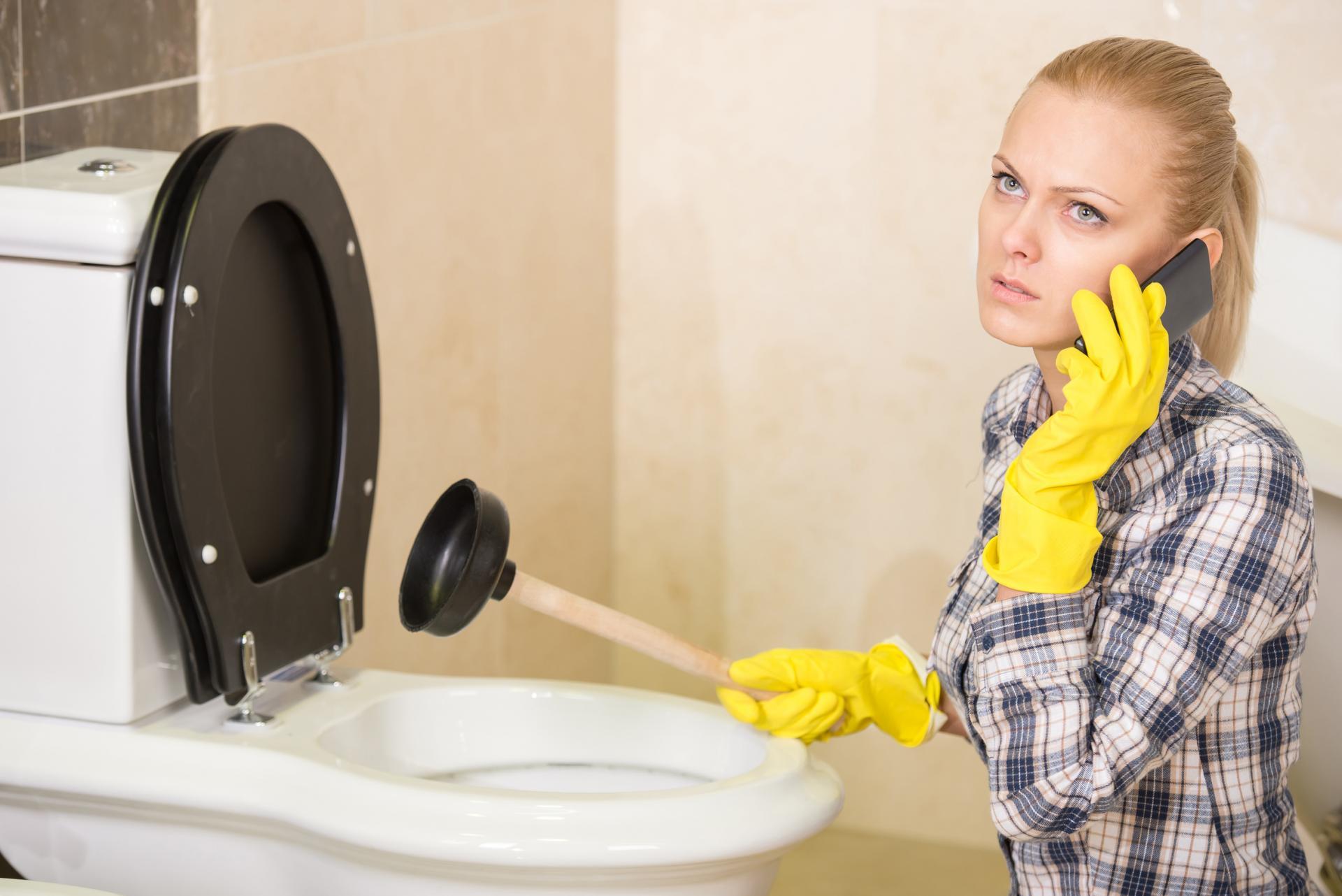Intervention De Débouchage D'Égout À La Haute Pression avec Toilettes Bouchées