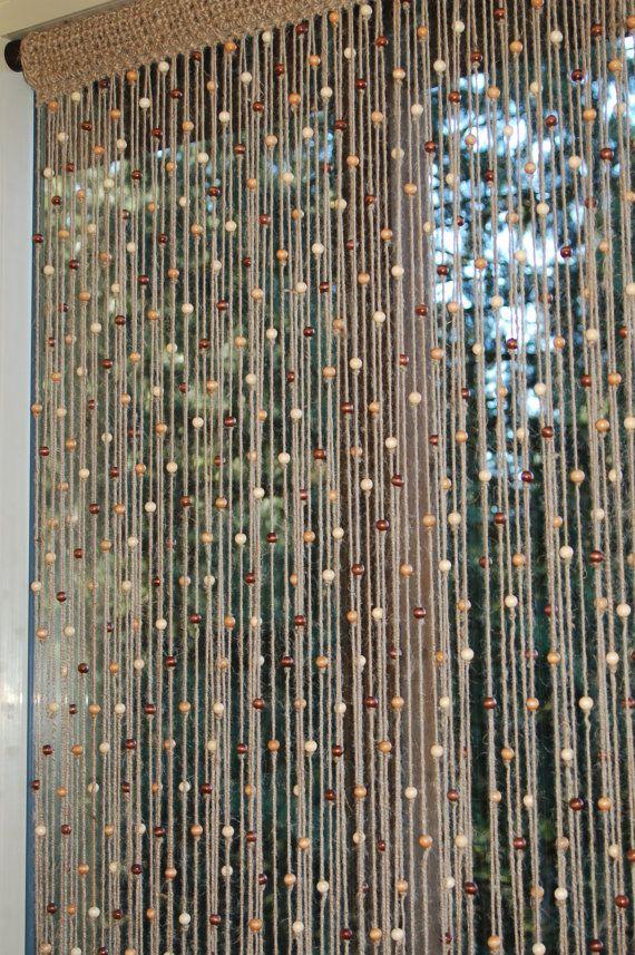 Jute Naturel Au Crochet Porte Rideau / Fenêtre En Bois pour Rideau De Perles De Bois Provençaux
