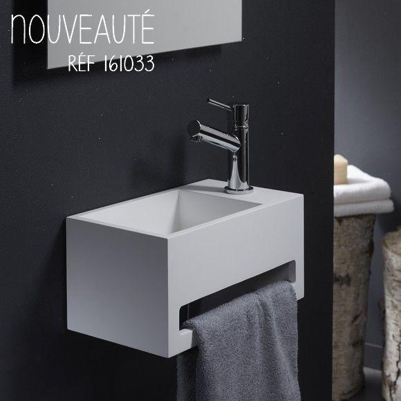 Lave-Mains Gain De Place En Solid Surface Prato 33X18 Cm destiné Toilette Suspendu Avec Lave Main