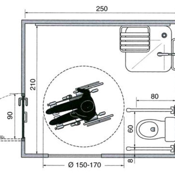Les Plans D'Une Salle De Bains Aménagée Pour Un Fauteuil destiné Toilettes Handicapés Dimensions