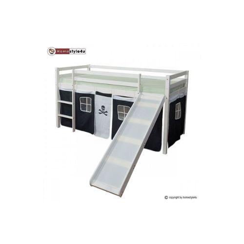 Lit Simple Blanc 90X200 En Hauteur Avec Echelle Et Rideau serapportantà Rideau Hauteur 200